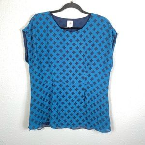 Cabi #3274 blue printed foulard spilt back blouse